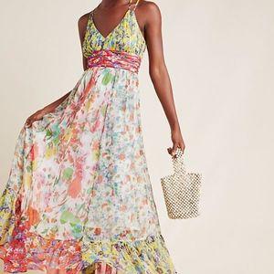 Anthropologie Malibu Floral Maxi Dress
